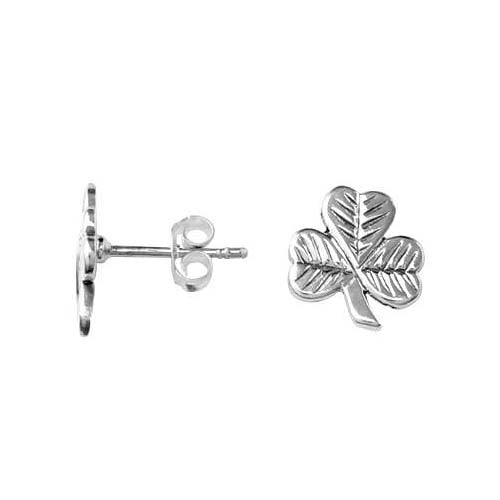 Silver Post Earrings: Lucky Cloverleaf