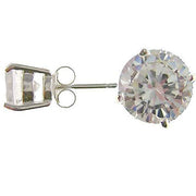 Silver Post Earrings: 2 CTW Simulated Diamonds