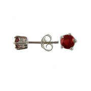 Silver Post Earrings: 0.25 Carat Ruby Gemstones
