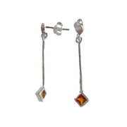 Garnet Sterling Silver Diamond Dangle Earrings | SilverAndGold