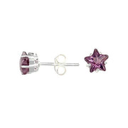 Amethyst Cubic Zirconia Sterling Silver Star Earrings | SilverAndGold