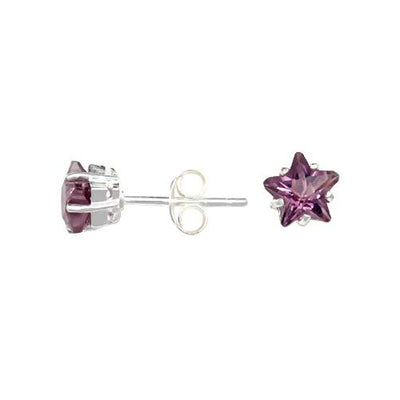 Sterling Silver and 1 Carat Star Shape Amethyst Gemstone Earrings