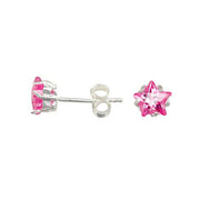 Pink Cubic Zirconia Star Earrings | SilverAndGold