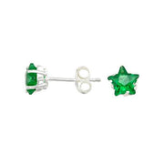Sterling Silver and Star Shape Emerald Green Earrings
