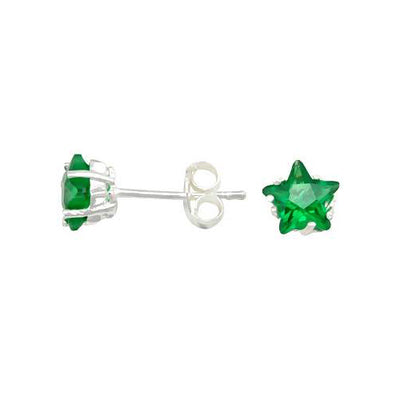 Green Cubic Zirconia Star Earrings  SilverAndGold
