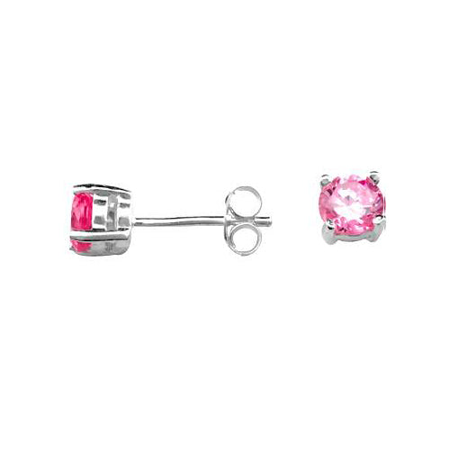 Silver Post Earrings with 0.5 TCW Pink Gemstones