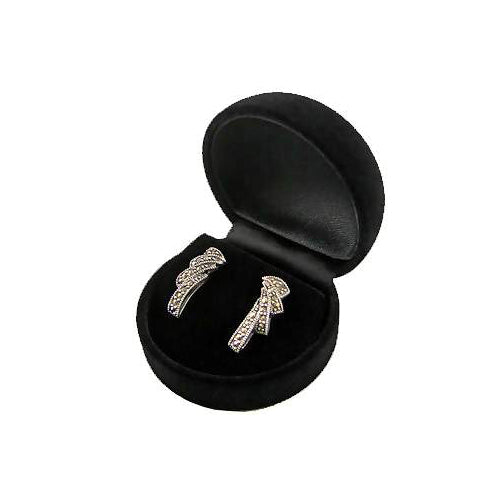 Marcasite Sterling Silver Ribbon Earrings | SilverAndGold