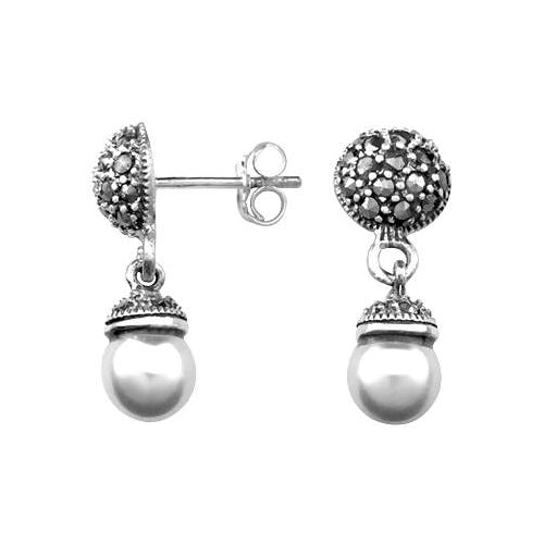 Sterling Silver Large White Pearls And Marcasite Gemstones Earrings