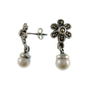 Marcasite Flower Pearl Dangle Earrings | SilverAndGold