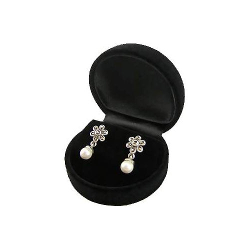 South Sea Pearl, Marcasite and Sterling Silver Earrings