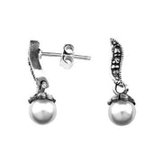 Silver Post Earrings: White Pearls and Marcasite Gemstones