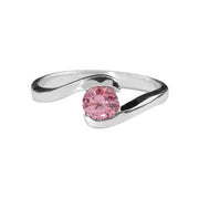 Sterling & Pink Gemstone Solitaire Ring (1/2 Carat) - SilverAndGold.com Silver And Gold