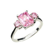 Three Stone Pink Gemstone Ring - SilverAndGold.com Silver And Gold