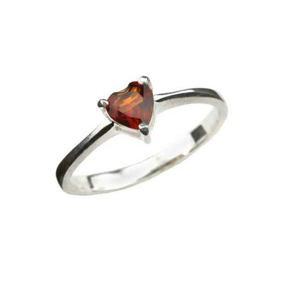 Solitaire Heart Shape Garnet Ring - SilverAndGold.com Silver And Gold