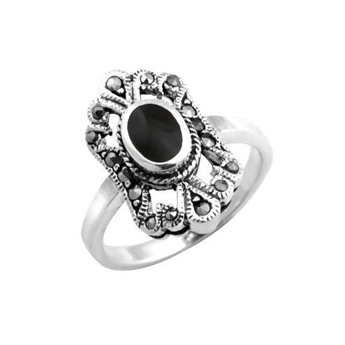 Sterling & Black Onyx Solitaire Ring - SilverAndGold.com Silver And Gold