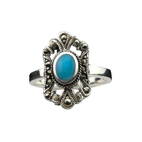 Solitaire Turquoise Ring: made in solid sterling silver and Hallmarked 925 for Sterling. - SilverAndGold.com Silver And Gold