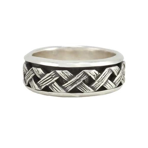 Silver Ring Crosshatch Design