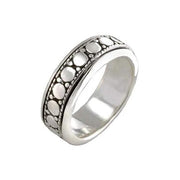Silver Spinner Ring Faded Circles Design