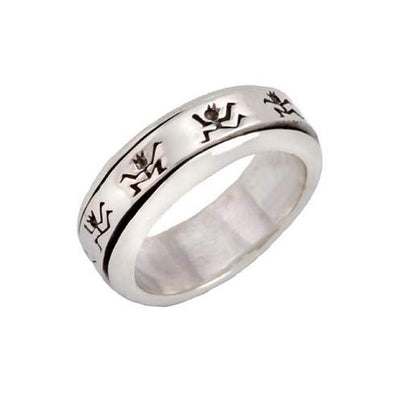 Sterling Silver Dancing Stick Figure Spinner Ring
