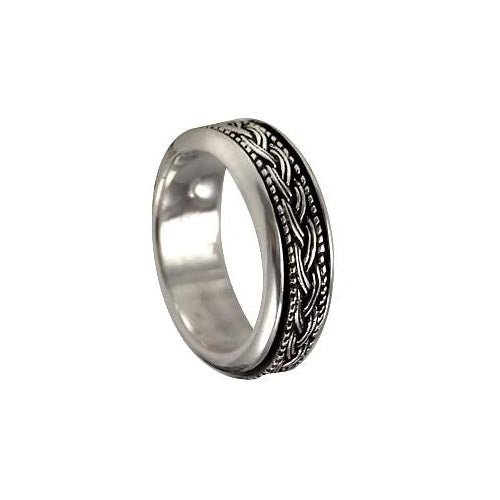 Silver Spinner Ring Feathered Ropes Design