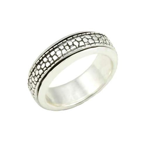 Silver Spinner Ring: Alligator Skin - SilverAndGold.com Silver And Gold