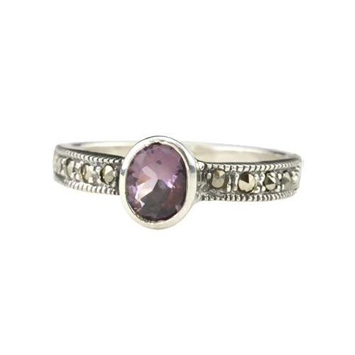 Solitaire Amethyst Ring - SilverAndGold.com Silver And Gold