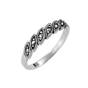 Sterling Silver Marcasite Band Ring - SilverAndGold.com Silver And Gold