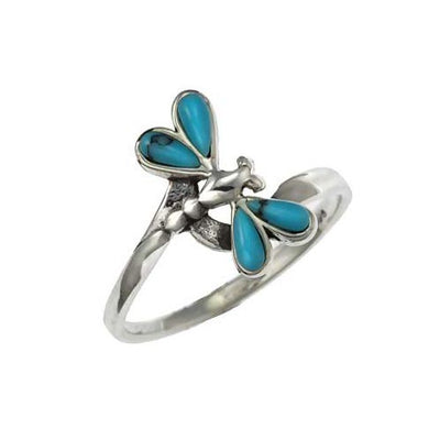 Turquoise and Sterling Silver Butterfly Ring - SilverAndGold.com Silver And Gold