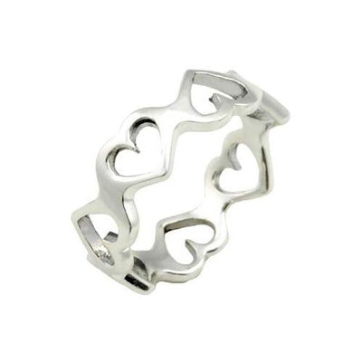 Silver Ring - Elegant Chain of Hearts