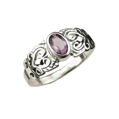 Solitaire Amethyst Ring & Filigree Work - SilverAndGold.com Silver And Gold