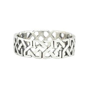 Silver Ring Square Knot Design