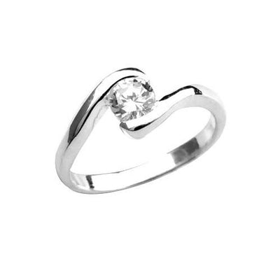 Sterling & Solitaire Ring (1/4 Carat) - SilverAndGold.com Silver And Gold