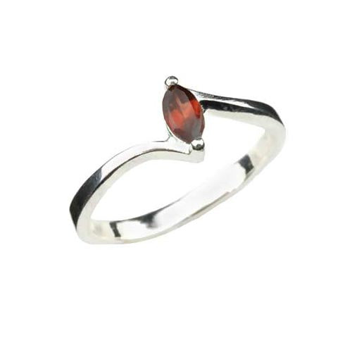 Solitaire Garnet Ring - SilverAndGold.com Silver And Gold