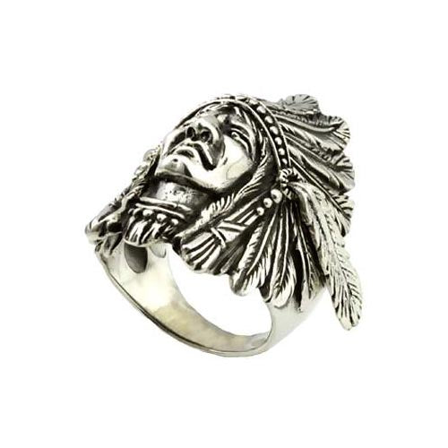 Silver Ring Native American Chief (Movable Feathers)