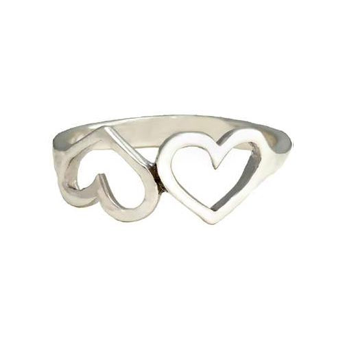 Silver Ring Opposite Hearts