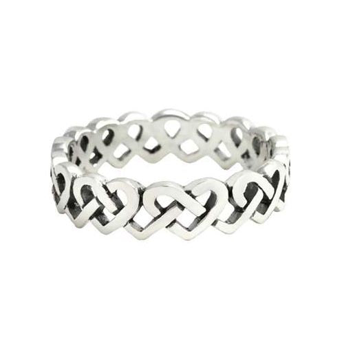 Silver Ring Infinity Hearts Design