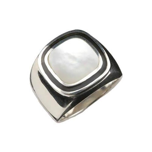 Solitaire Mother of Pearl Ring - SilverAndGold.com Silver And Gold