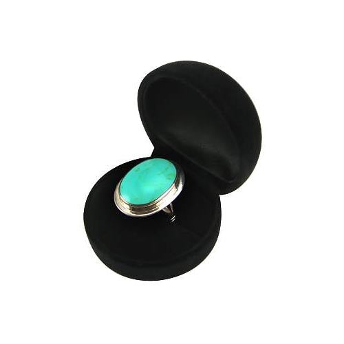 Turquoise and Sterling Silver Large Oval Ring - SilverAndGold.com Silver And Gold