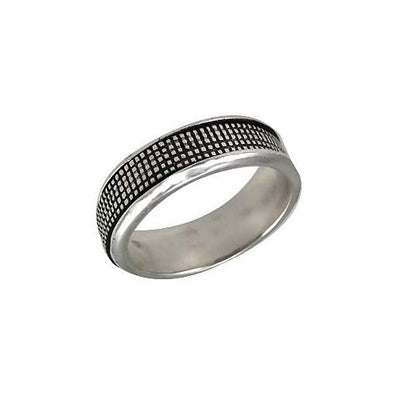 Silver Spinner Ring Crosshatch Design
