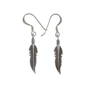 Dangling Eagle Feathers Sterling Silver Earrings - SilverAndGold.com Silver And Gold