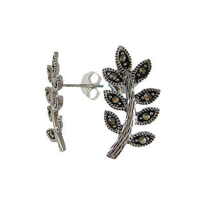 Sterling Silver Marcasite Leaf Earrings | SilverAndGold