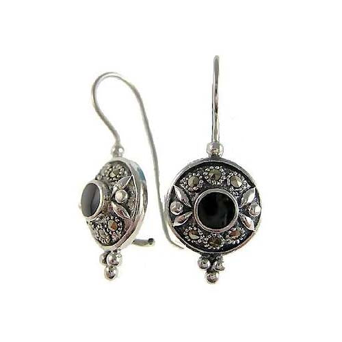 Ornate Onyx Sterling Silver Earrings | SilverAndGold