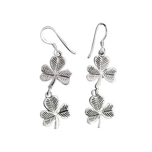 Sterling Lucky Dangle Earrings: Silver Clover - SilverAndGold.com Silver And Gold