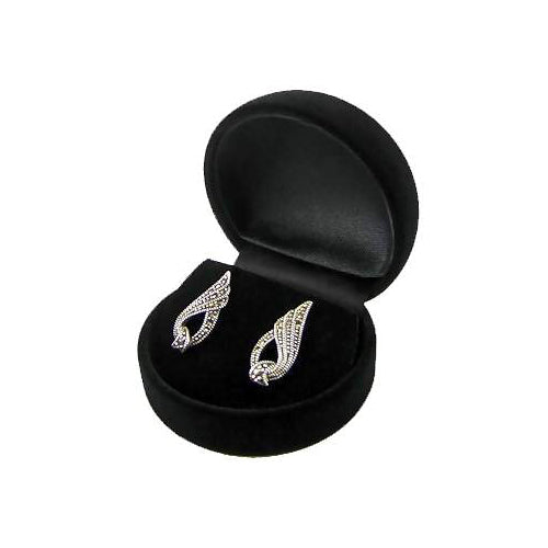 Elegant Marcasite Gemstones Art Deco Style Earrings - SilverAndGold.com Silver And Gold