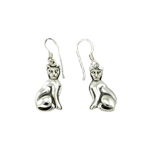 Silver Earrings: Majestic Cat - SilverAndGold.com Silver And Gold