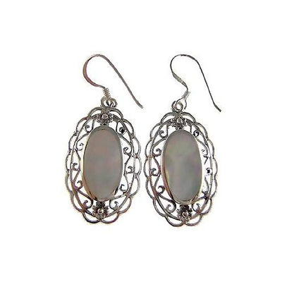 Mother of Pearl Sterling Silver Filigree Earrings | SilverAndGold