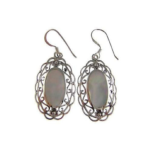 French Empire Style Filigree Silver and Mother of Pearl Earrings - SilverAndGold.com Silver And Gold