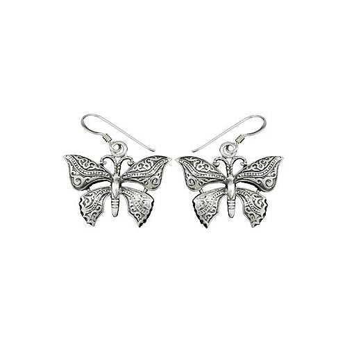 Sterling Earrings: Large Filigree Butterflies - SilverAndGold.com Silver And Gold