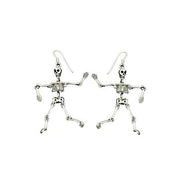 Sterling Silver Movable Skeletons Earrings | SilverAndGold
