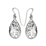 Sterling Silver Intricate Teardrop Earrings | SilverAndGold